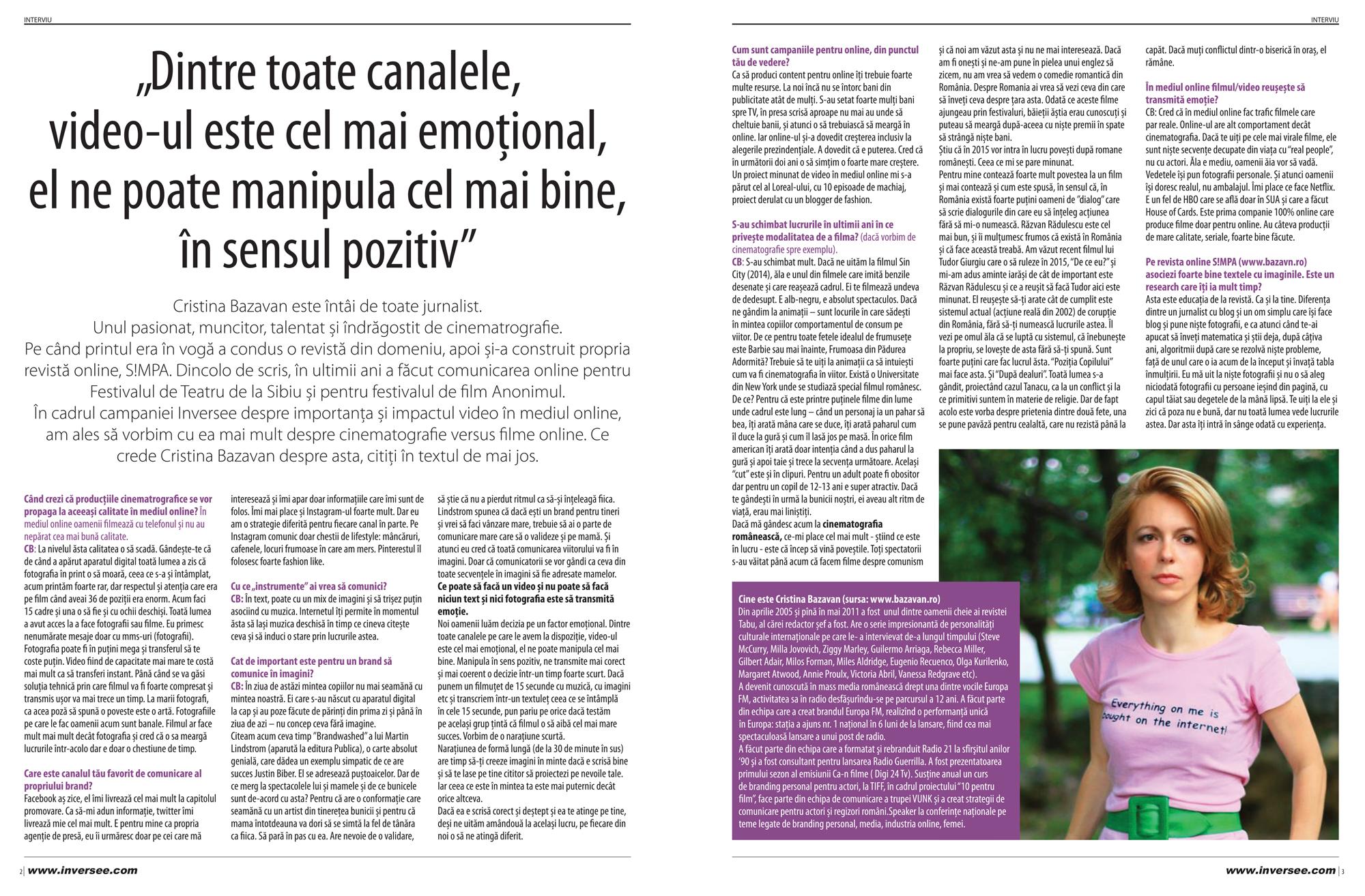 Interviu Cristina Bazavan